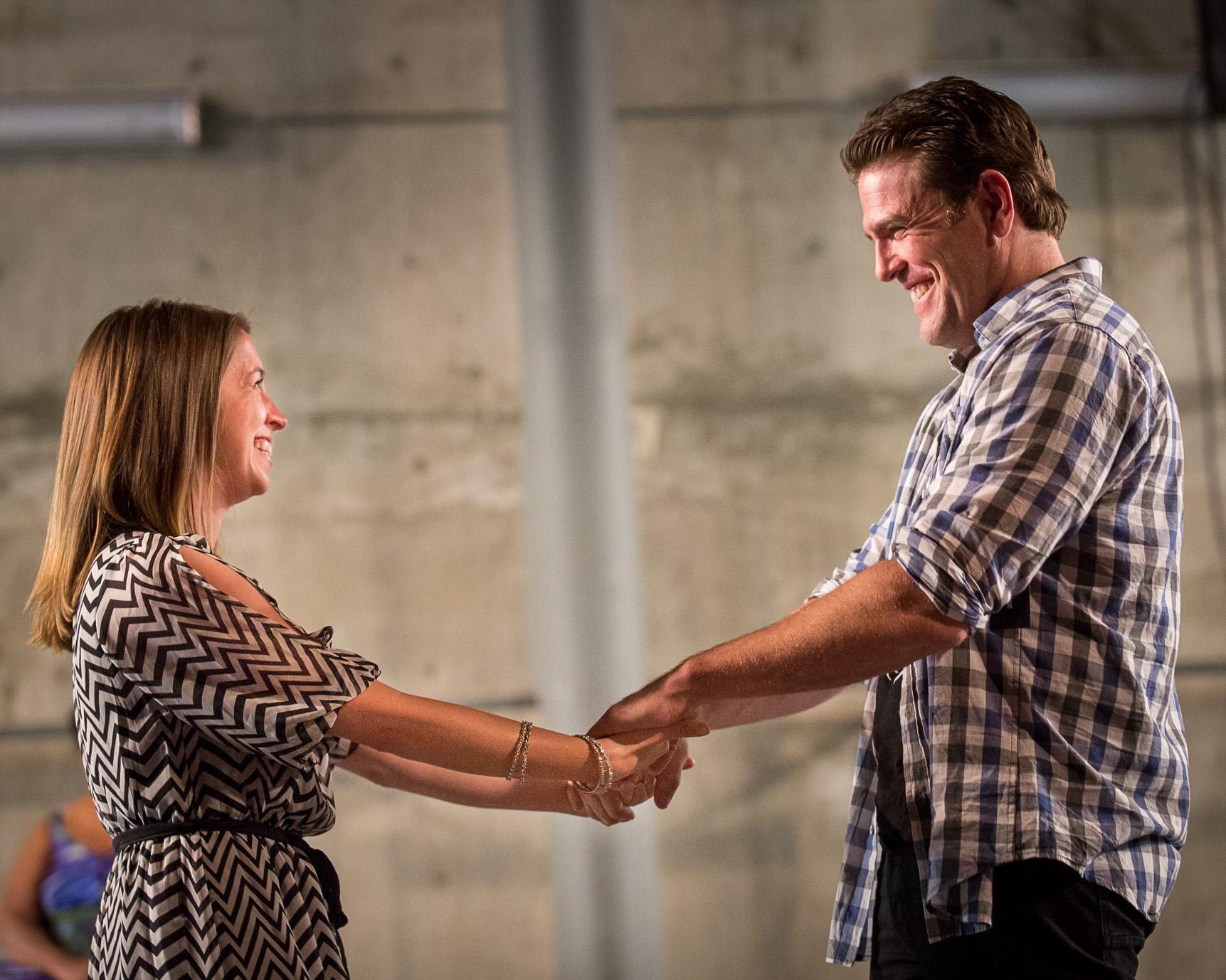Left to right: Lindsey Cafferky (Mara) and Michael Mayes (Adam); photo: Owen Carey/Anima Mundi Productions