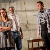 Left to right: Lindsey Cafferky (Mara), Andre Flynn (Paul), Michael Mayes (Adam); photo: Owen Carey/Anima Mundi Productions