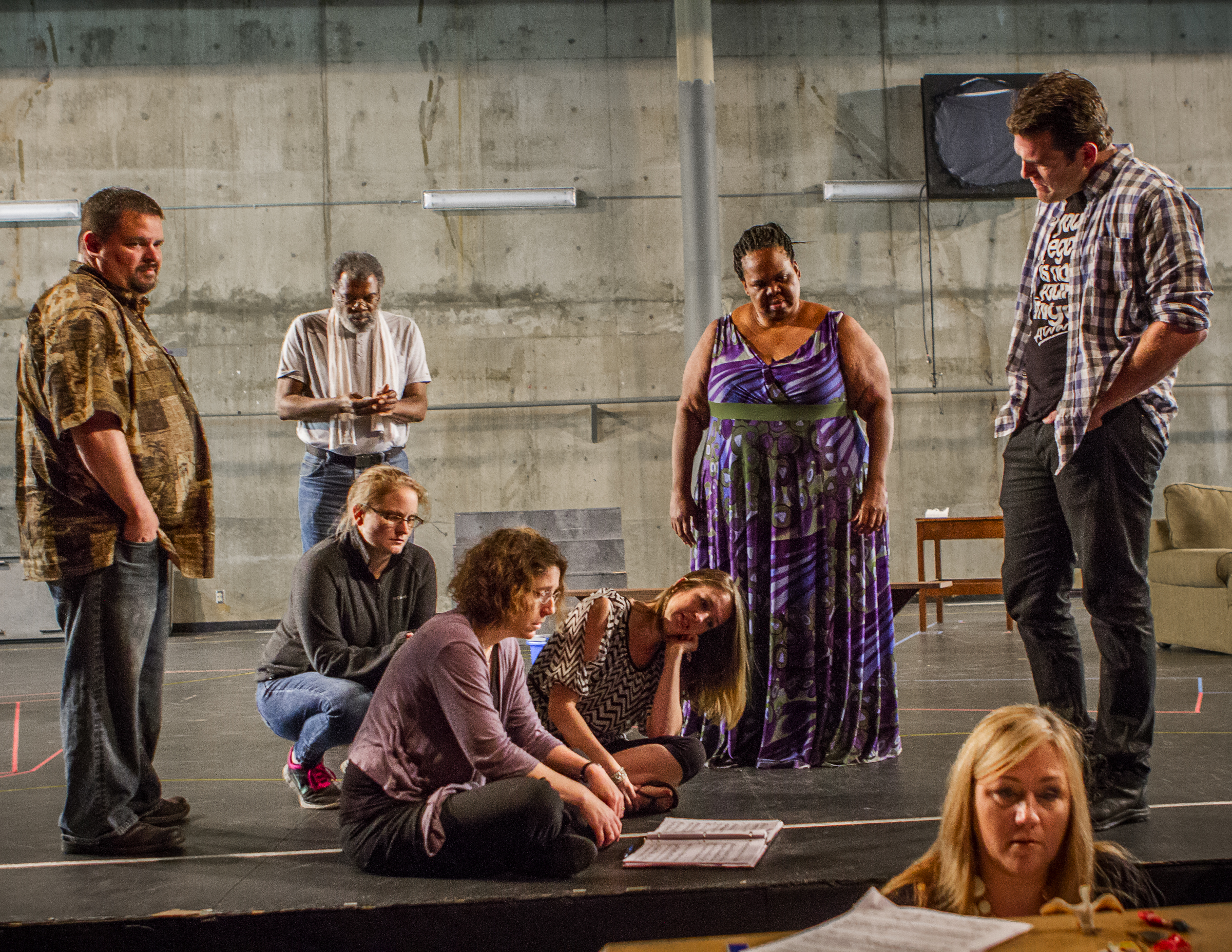 Left to right: Timothy Galloway (Male Angel), Andre Flynn (Paul), Rachael Marsh (Female Angel), Kristine McIntyre (Director), Lindsey Cafferky (Mara), Gwendolyn Brown (The Black Madonna), Janet Coleman (Piano), Michael Mayes (Adam); photo: Owen Carey/Anima Mundi Productions
