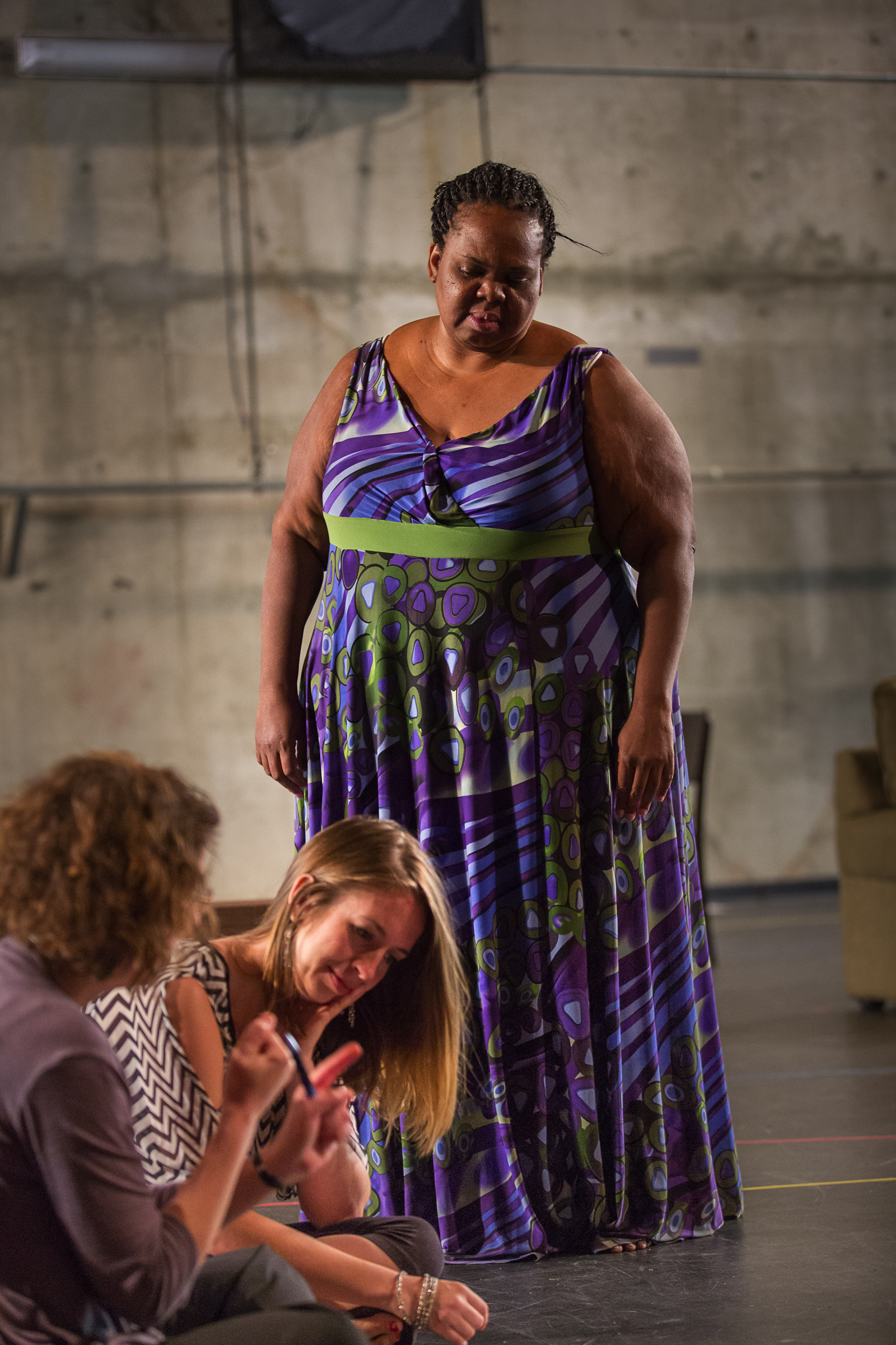 Left to right: Kristine McIntyre (Director), Lindsey Cafferky (Mara), Gwendolyn Brown (The Black Madonna); photo: Owen Carey/Anima Mundi Productions