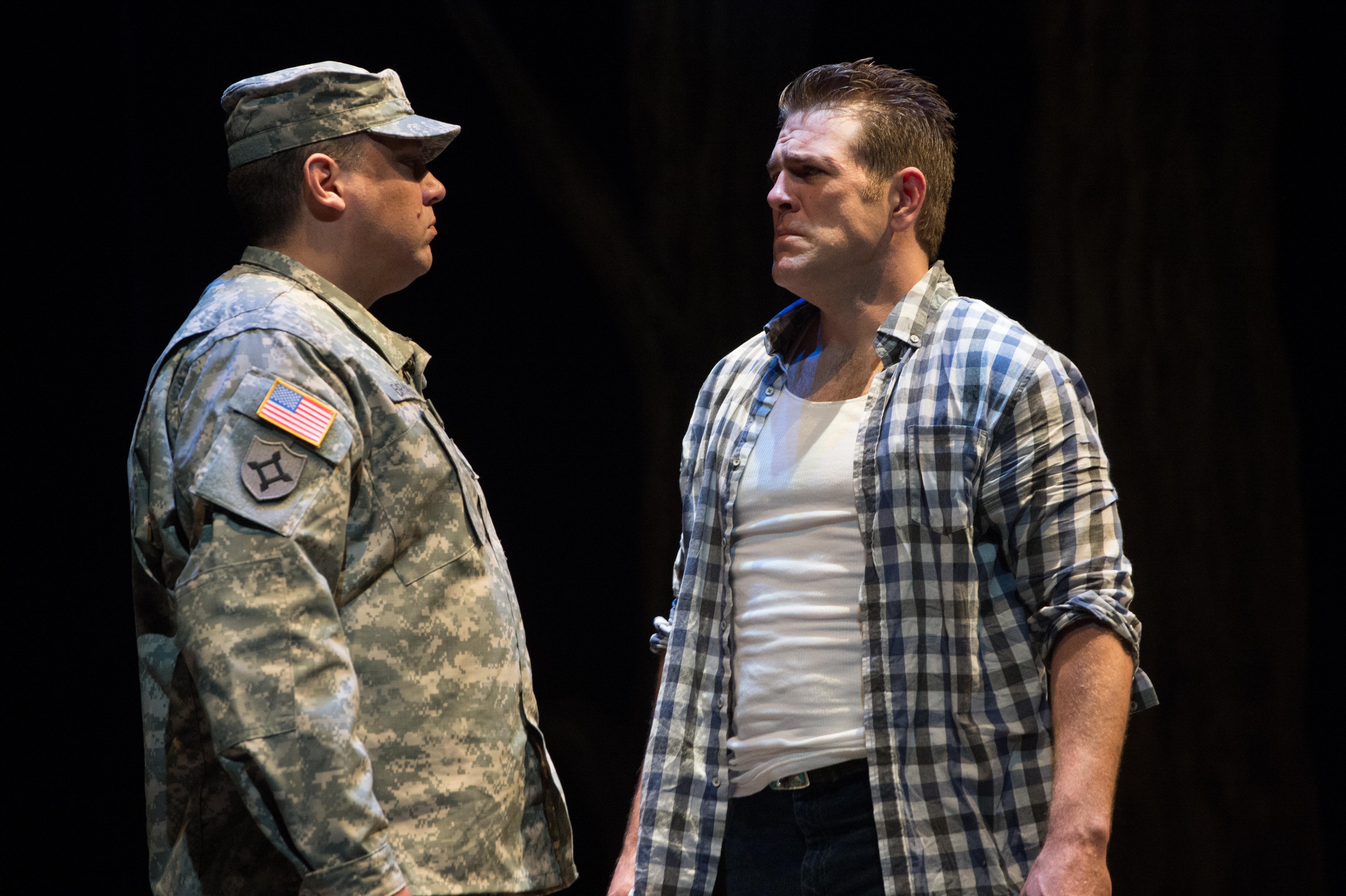 Frmr Oregon National Guardsman SFC Sean Davis as Sgt Bryan and Michael Mayes as Adam. Photo: Jenny Graham/Anima Mundi Productions.